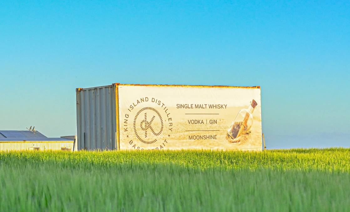 A container sits among the barley, which will be made into a premium whisky at a new distillery being set up on King Island. Photo: Supplied