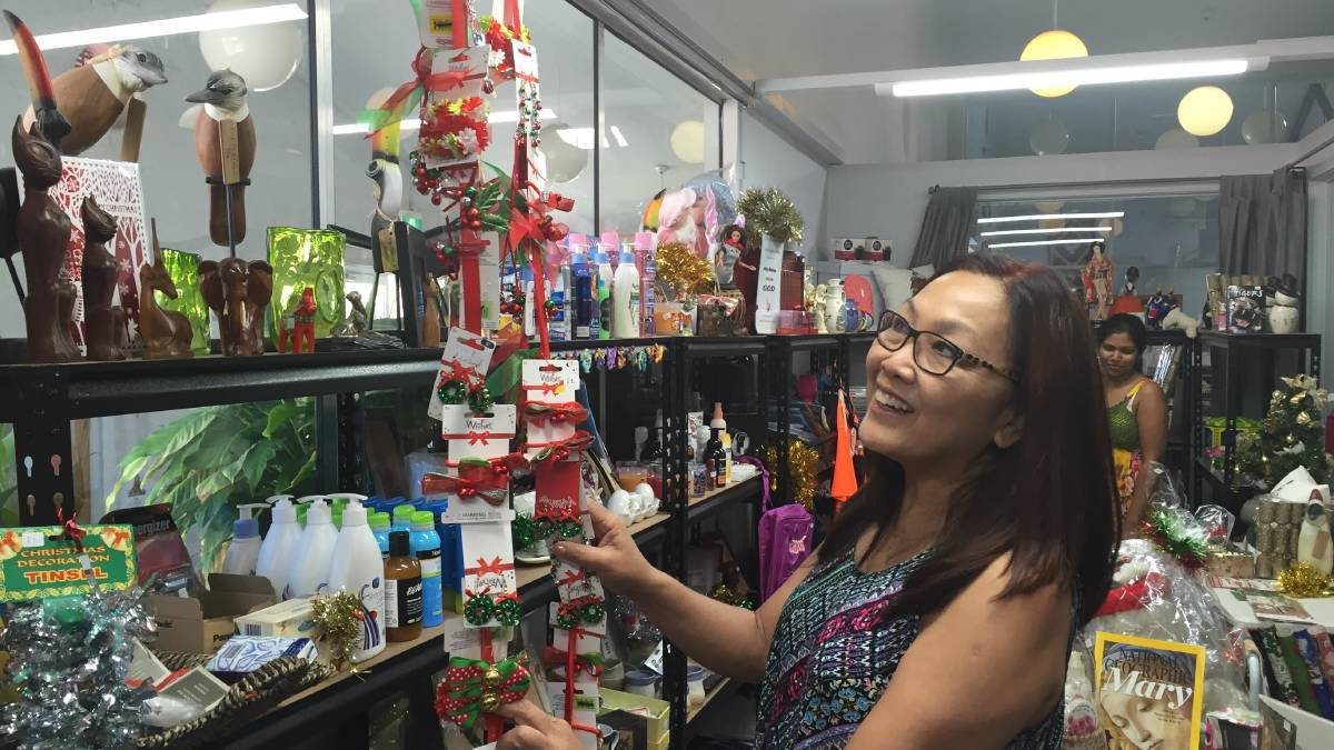 Kogarah Storehouse community centre manager Lala Noronha preparing the Christmas Market. Proceeds raised from the market will be used to support the Storehouse's food program.