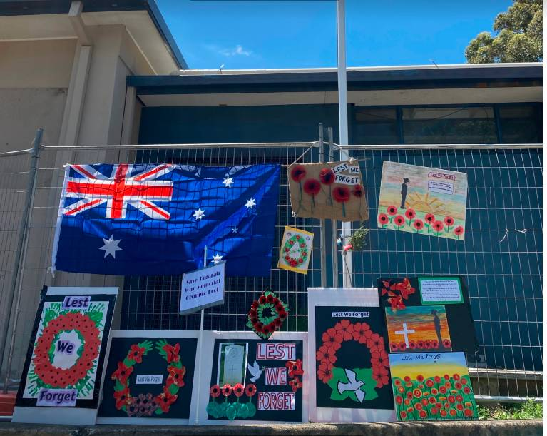 Tributes left yesterday for Remembrance Day at Kogarah War Memorial Pool at Carss Park.