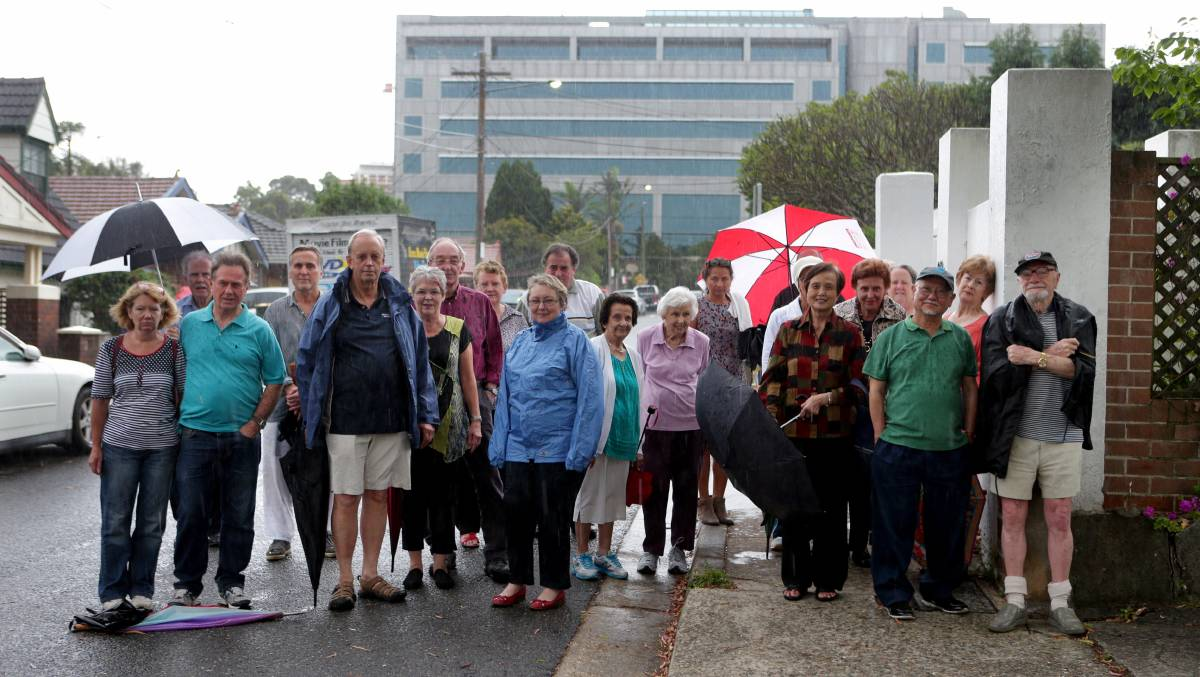 Opposition: Hurstville residents object to the redevelopment of the former Australian Tax Office building. Picture: Jane Dyson.