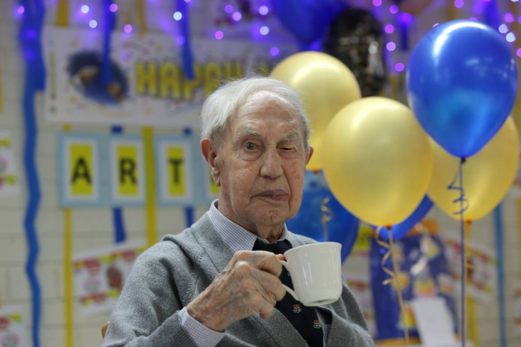 Celebratory cuppa: Arthur Miller at his 100th birthday party. Picture: John Veage