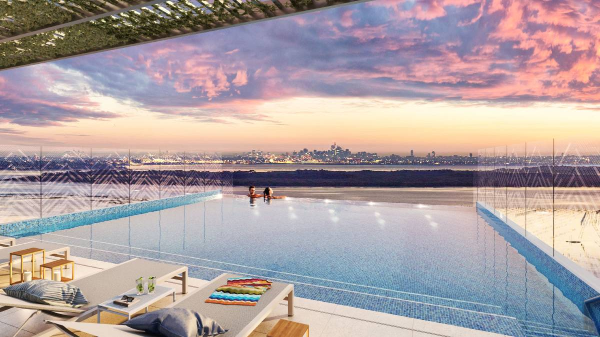 Artist's impression of the infinity pool on to the rooftop of the Crest building. Picture: supplied