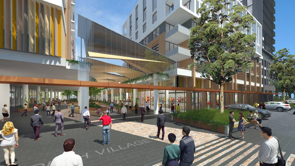 Artist's impression of the shopping centre in South Village at Kirrawee. Picture supplired
