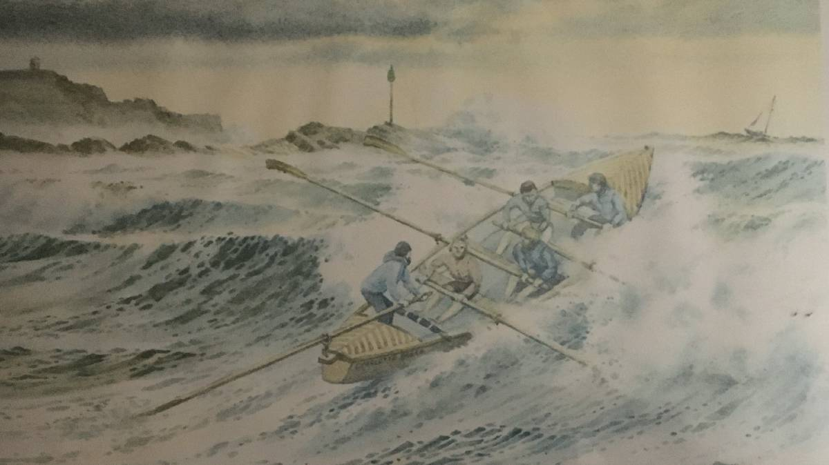 To the rescue: Bude artist Harry McConville's painting of the Charlotte Breen going to the rescue at Bude in Cornwall.